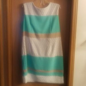 Women's midi 20W green/tan/cream dress